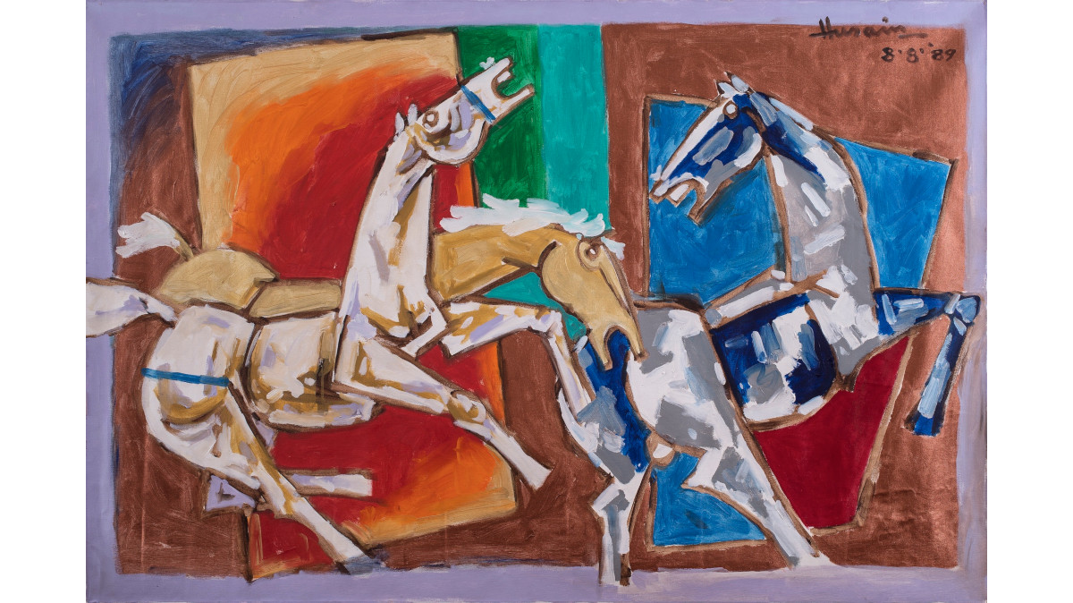 Maqbool Fida Husain - Perhaps these three horses are like three cheers for my Knighthood, 1989