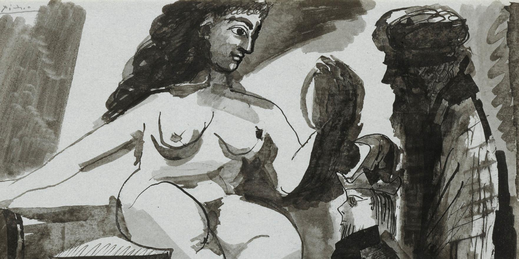 Pablo Picasso - Nu Assis Et Deux Personnages, 1968 (detail)