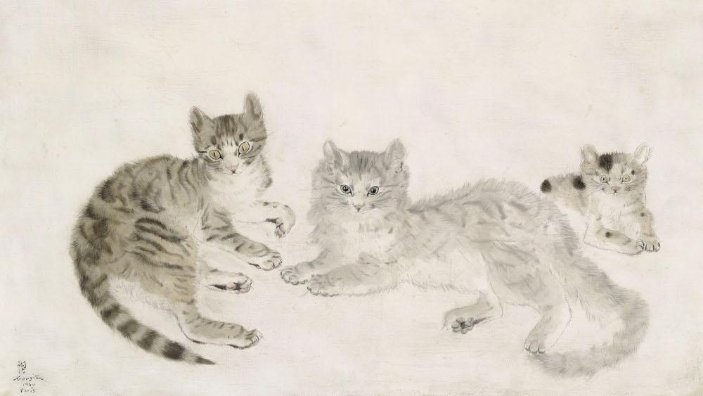 Tsuguharu Foujita - Chats Et Chaton, 1940 (Detail)