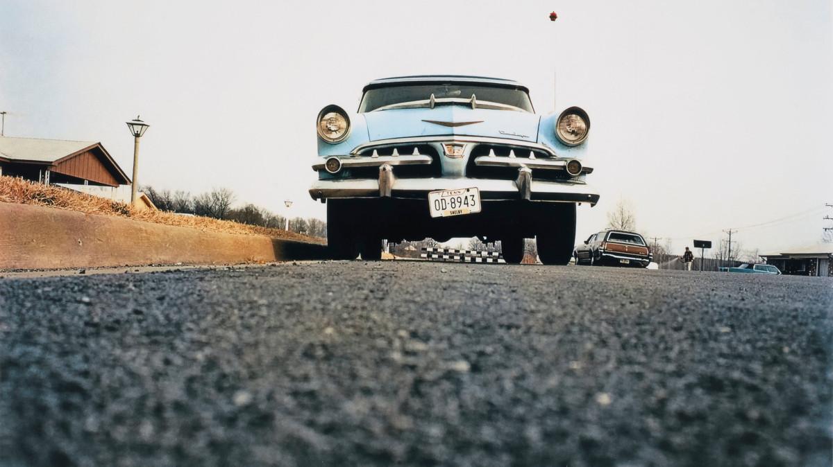 William Eggleston - Memphis (Blue car on suburban street), 1970 (detail)