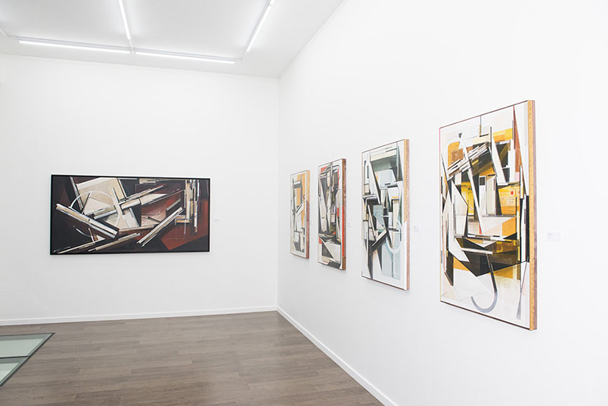 Augustine Kofie, Build From Memory, exhibition view of the first room, 'Recollection System Maroon' canvas along with the new wooden collection - © Galerie Openspace