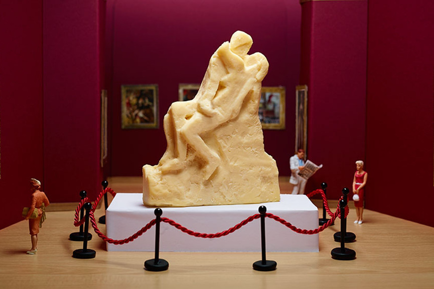A cheese carving inspired by Auguste Rodin's The Kiss