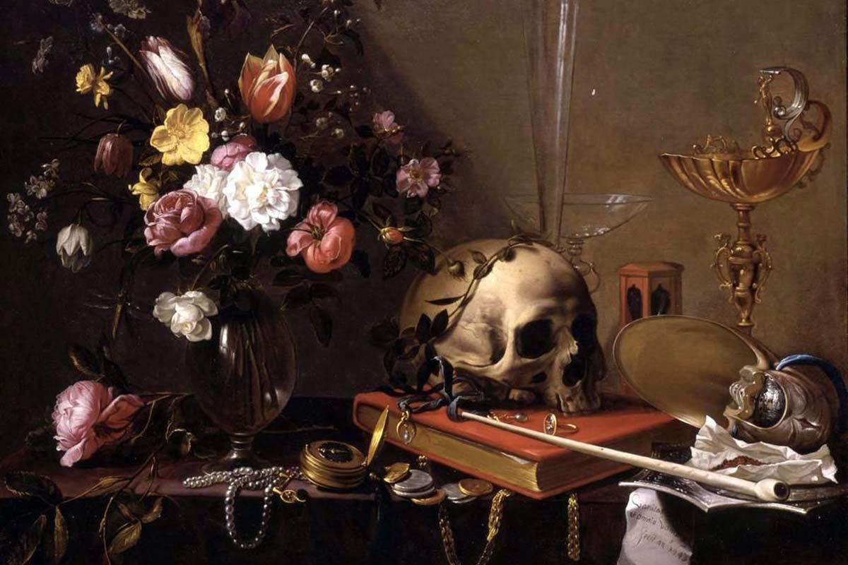 Adriaen_van_Utrecht-_Vanitas_-_Still_Life_with_Bouquet_and_Skull