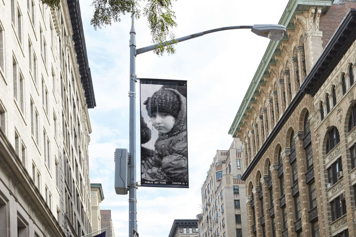 Ai Weiwei - One of the banners in New York. Photo - Jason Wyche, Courtesy Public Art Fund, NY