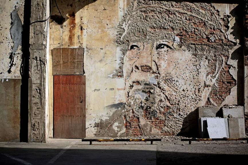 Alexandre Farto (VHILS) - Scratching the surface, Shanghai, 2012 ©courtesy of Magda Danysz
