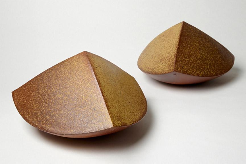 Amanda Gentry - Metamorphosis 1 + 2, 2015. Salt glazed stoneware from soda and wood fire, 7 x 12 x 12 in