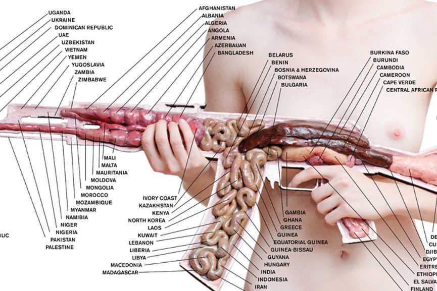 Anatomy AK47 nude - print, detail