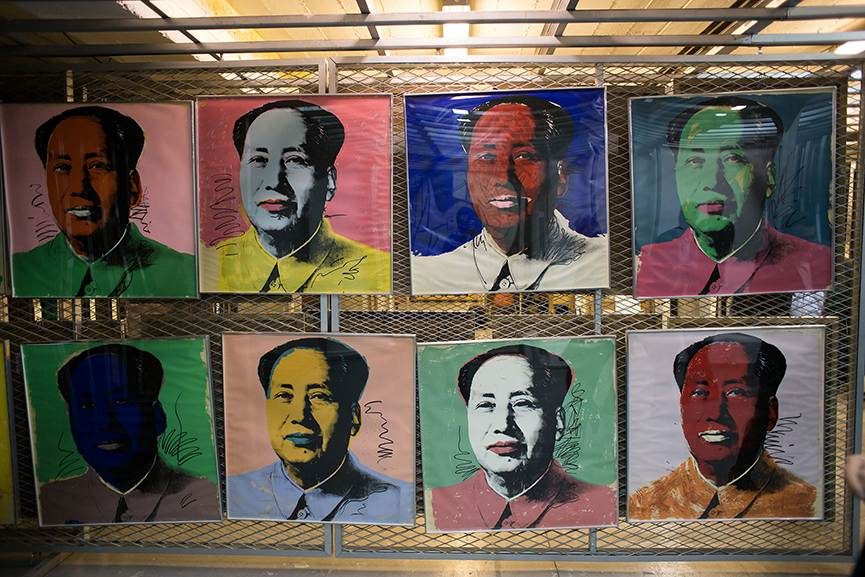 Andy Warhol - Mao Zedong series of portraits in the museum vault. Photo via socialmedianews.me