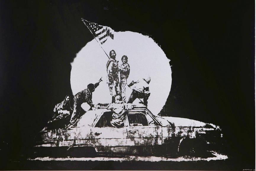 Banksy - Flag on Formica, 2007 (Lot 24). Estimated at $14,165 - $16,340.