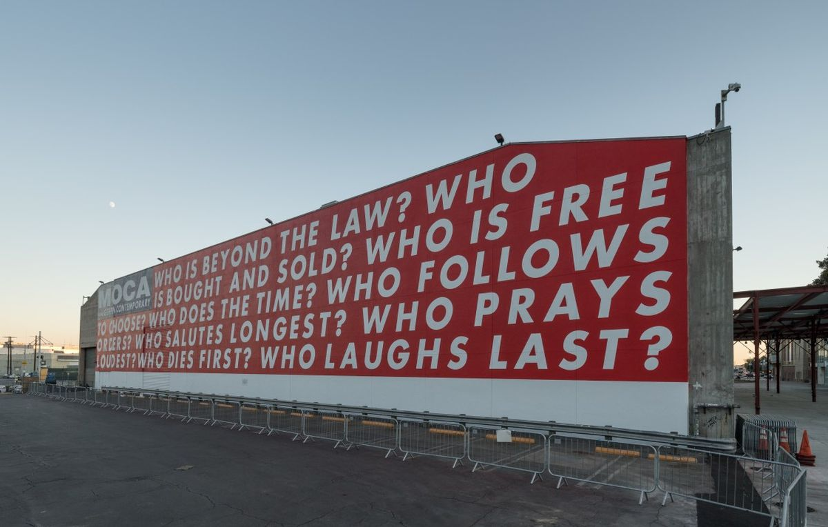 Barbara Kruger, Untitled (Questions), 1990:2018, on view October 20, 2018–November 2020 at The Geffen Contemporary at MOCA, photo by Elon Schoenholz 2
