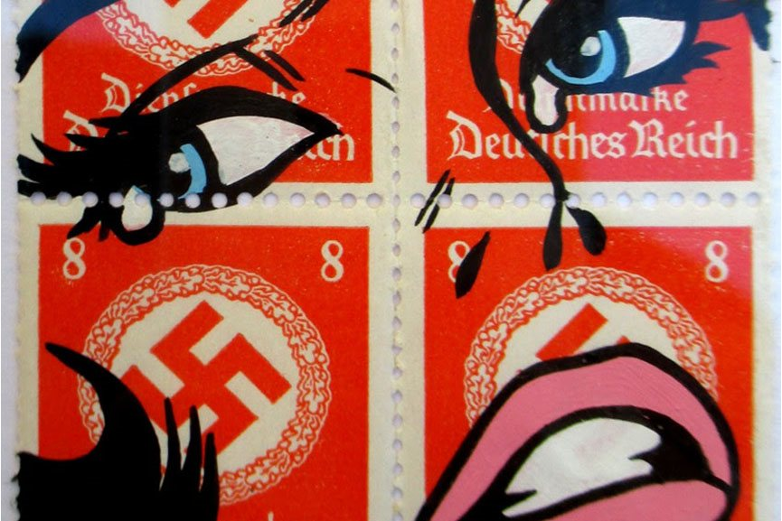 Ben Frost - The War is Over - mm on WWII vintage stamps, detail