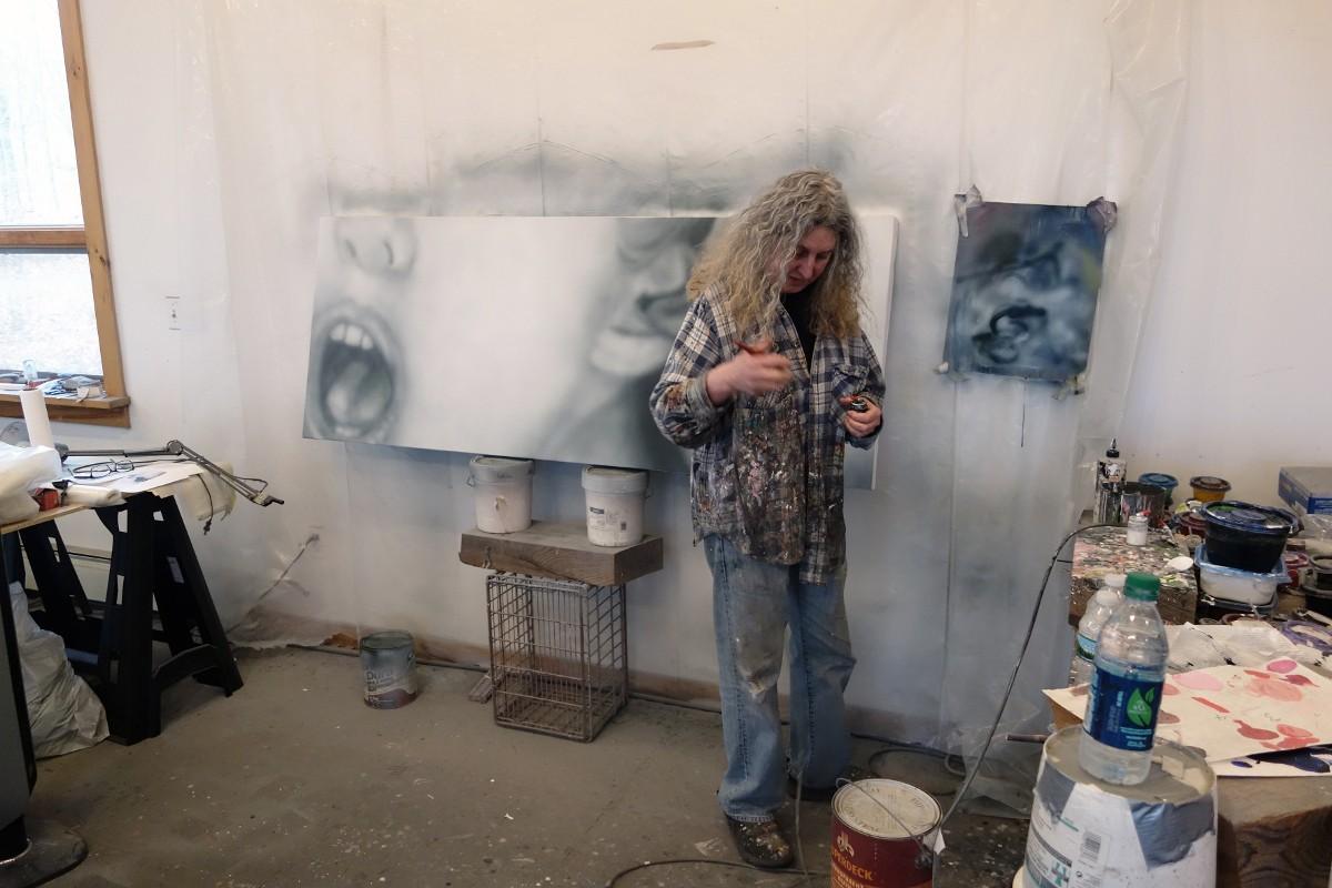 Betty Tompkins in her Studio, 2017