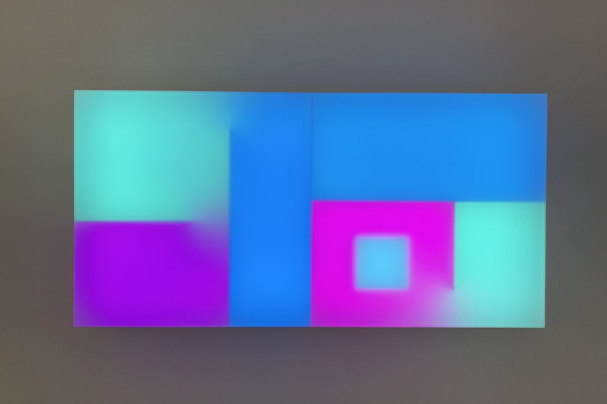 Brian Eno - A Time, 2017, Lightbox, LED, Perspex, wood, USB stick, 65 x 130 x 19 cm. Presented by Paul Stolper (London)