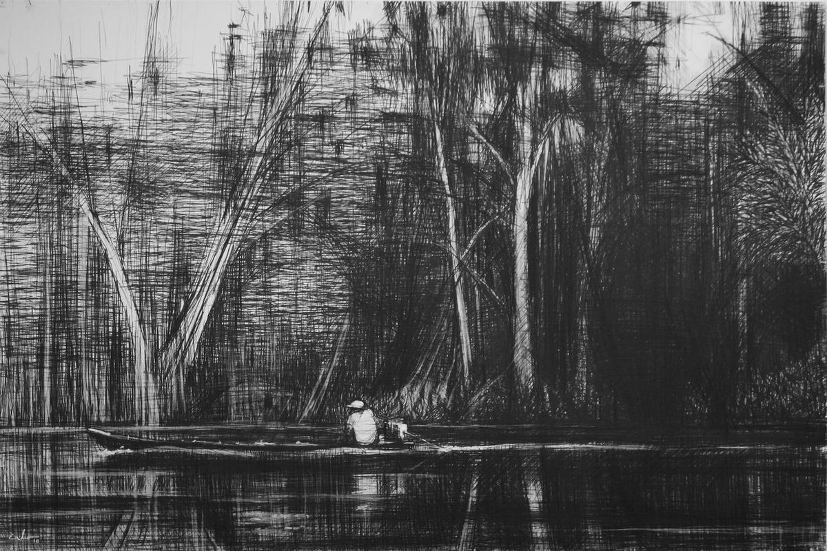 Calo Carratala - Boat on the Maranon River, Jungle series, 2010