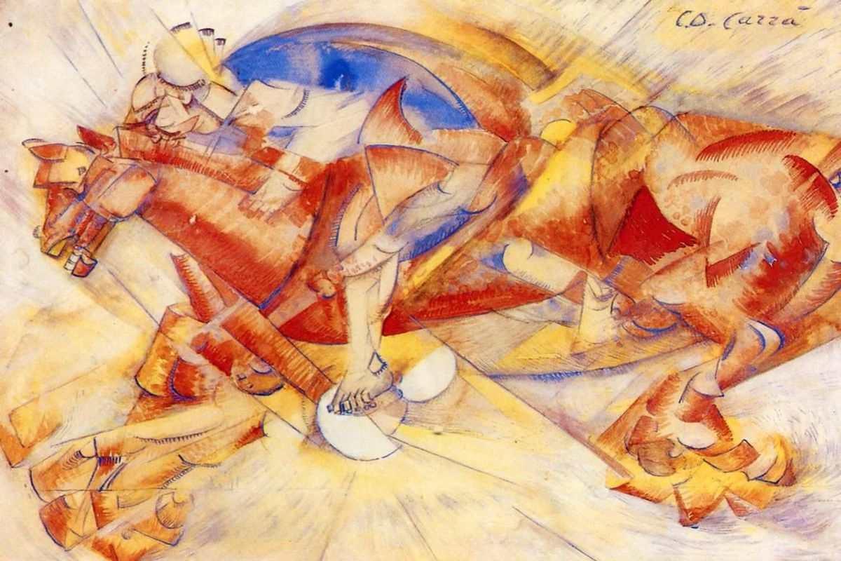 Carlo Carrà - Il cavaliere rosso (1913), via pinterest com