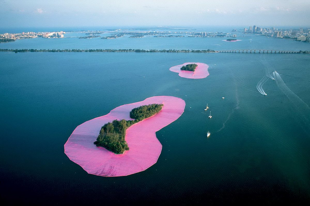 Christo and Jeanne-Claude - Documentary photograph of Surrounded Islands Biscayne Bay
