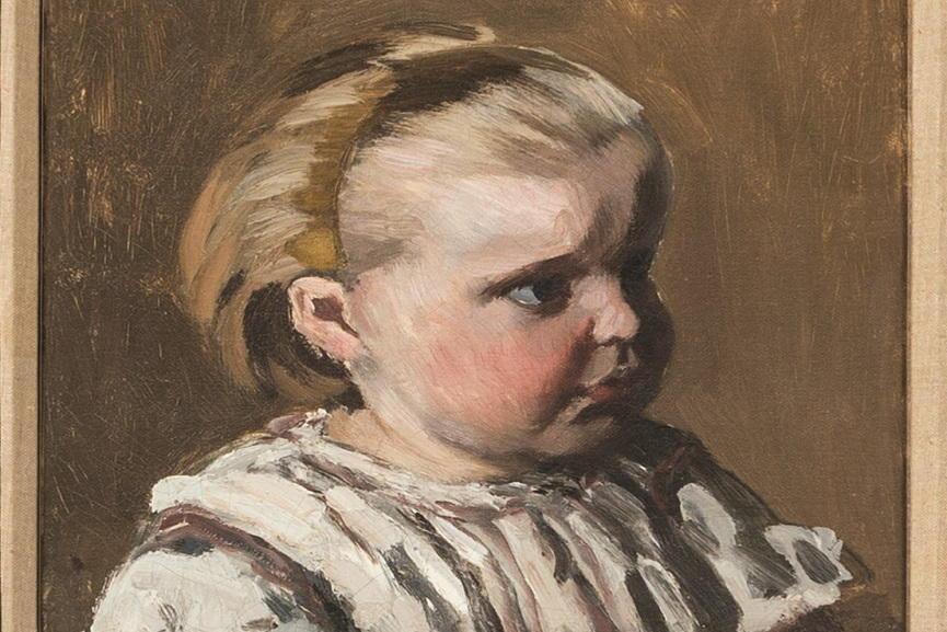 Claude Monet, - L'enfant à la tasse, portrait de Jean Monet, 1868, detail.