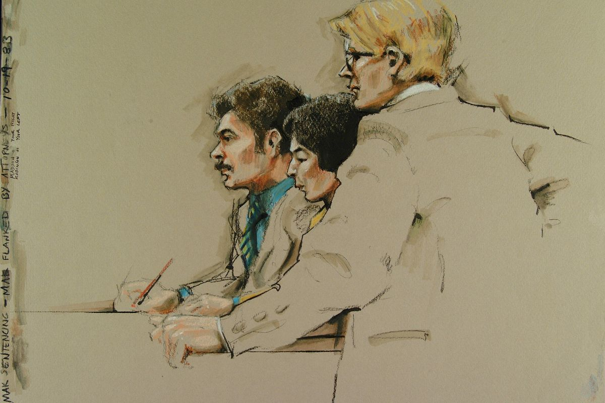 Courtroom sketch showing an accused person (centre, in yellow) flanked by attorneys at sentencing, drawn in about eight minutes