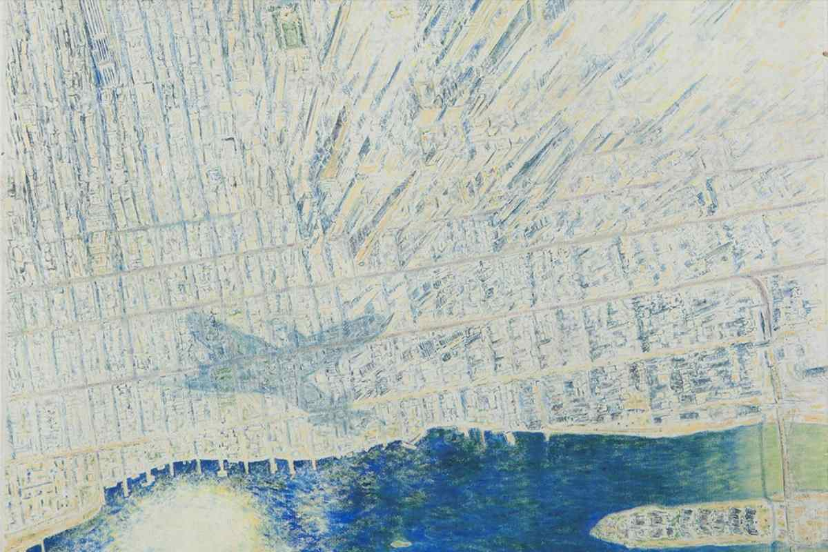 E.D. Osen - View of New York from a plane, detail (Lot 125)