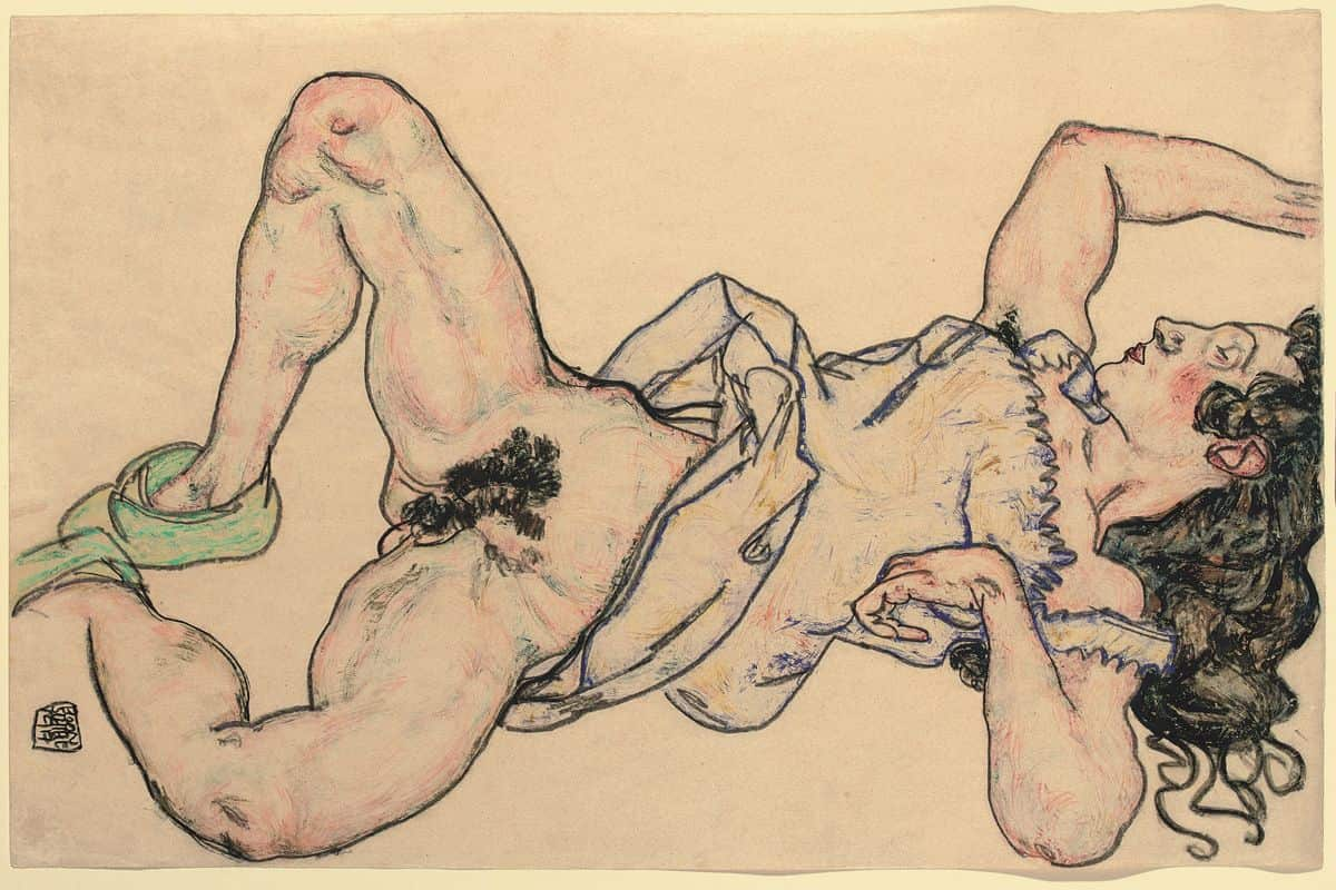 Egon Schiele - Reclining woman with green shoes, 1917