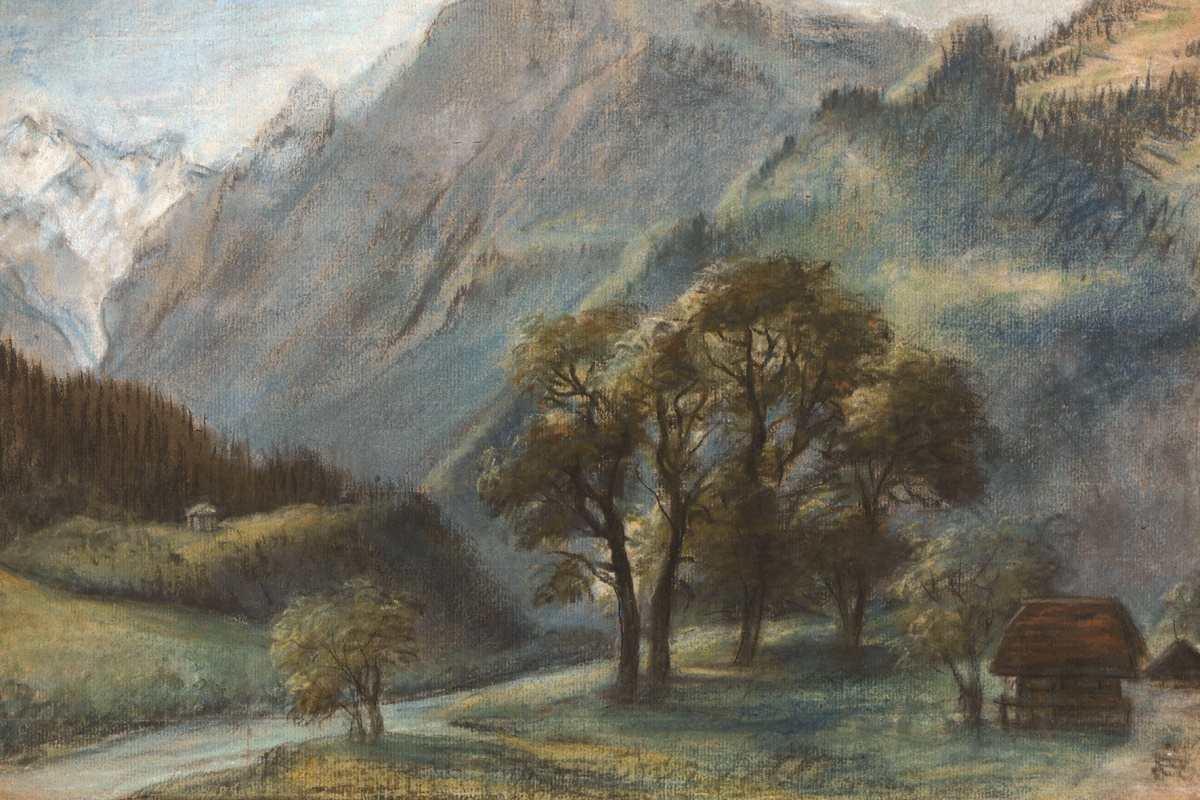 Elizabeth Vigée Le Brun - La Dent de Valère et le Rhône depuis les environs de Saint-Maurice, 1807, detail.Courtesy of Galerie Terrades, Thierry Jacob