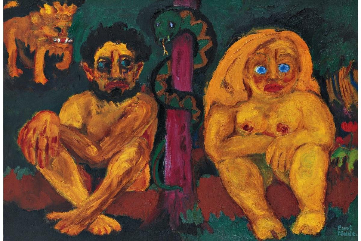 Emil Nolde, Paradise Lost, 1921, Oil on rough canvas (sackcloth), 106.5 × 157 cm © Nolde Stiftung Seebüll : Fotowerkstatt Elke Walford and Dirk Dunkelberg