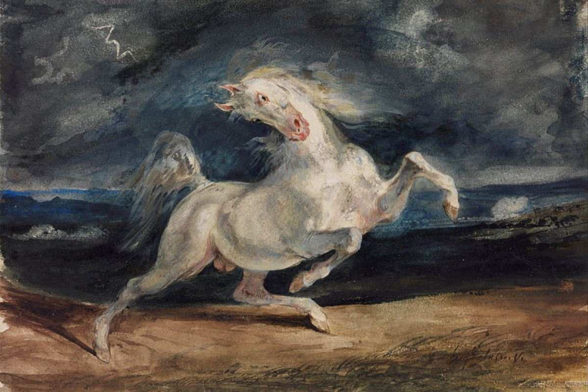Eugene Delacroix - Horse Frightened by Lightning, 1825-29