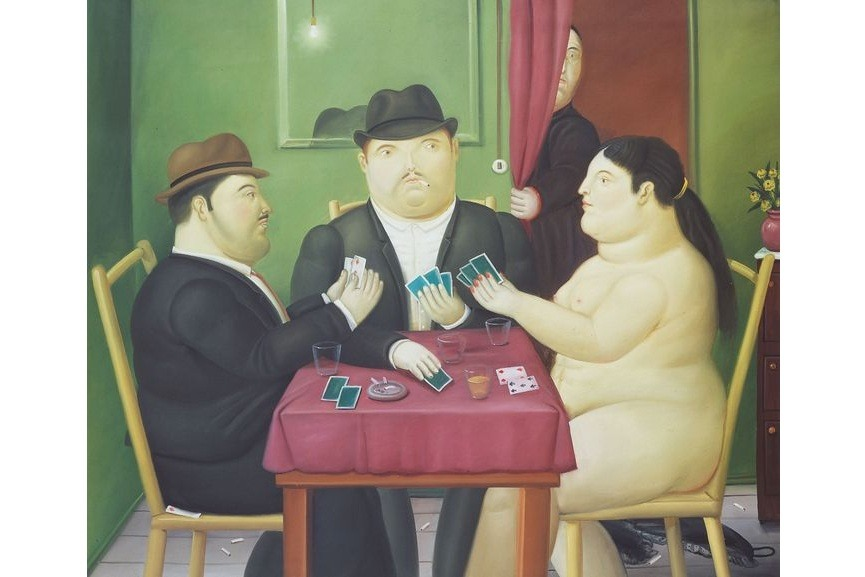 Fernando Botero - Card Players, 1991, via penccil com
