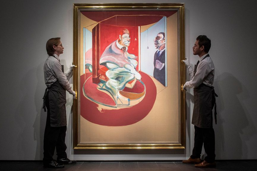 Francis Bacon's landmark painting, Study of Red Pope 1962. 2nd version 1971, at Christie's in London. Photograph- Victoria Jones:PA
