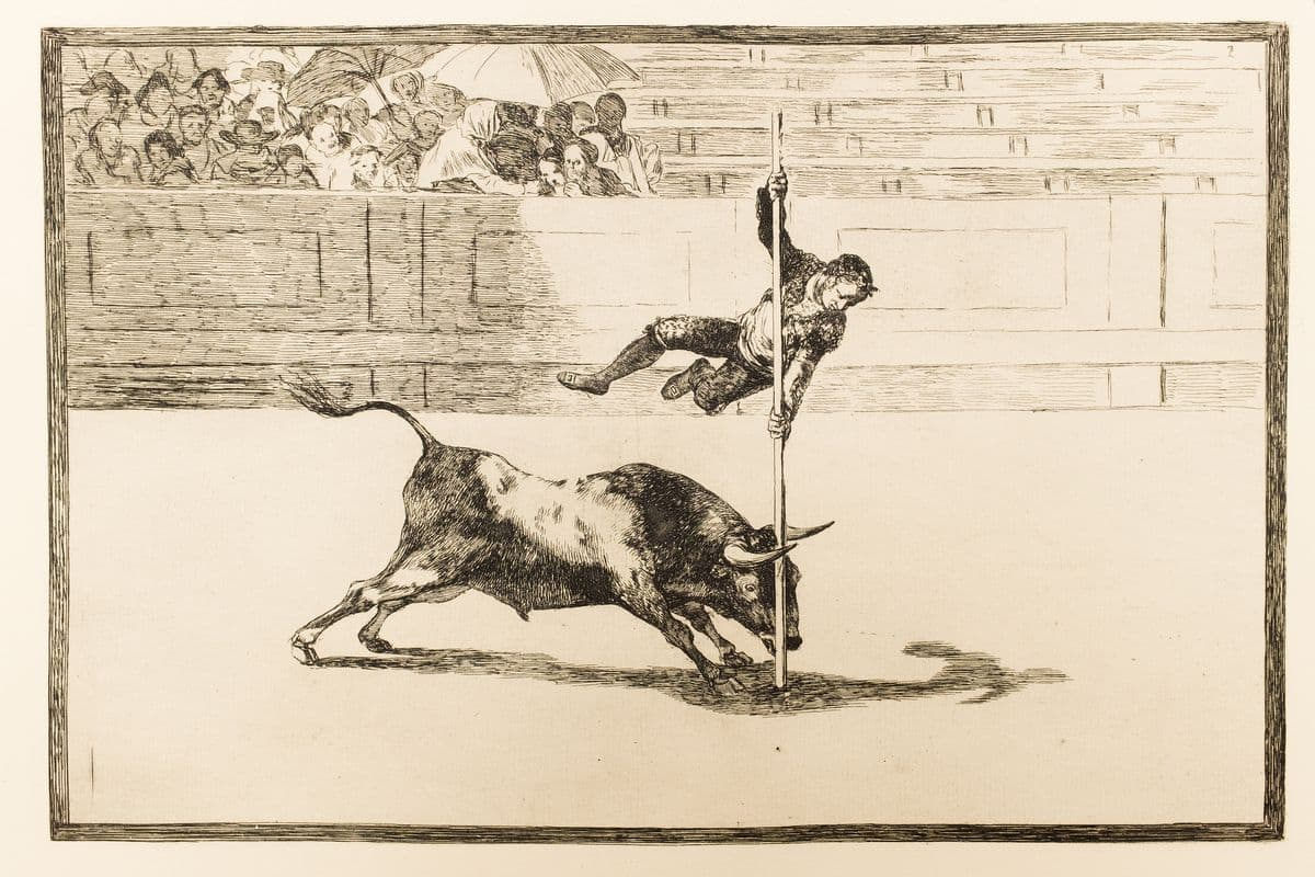 Francisco Goya - The agility and audacity of Juanito Apiñani in [the ring] at Madrid from La Tauromaquia
