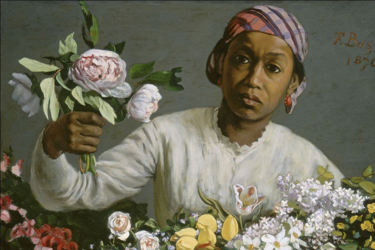 Frédéric Bazille -Young Woman with Peonies (detail),1870