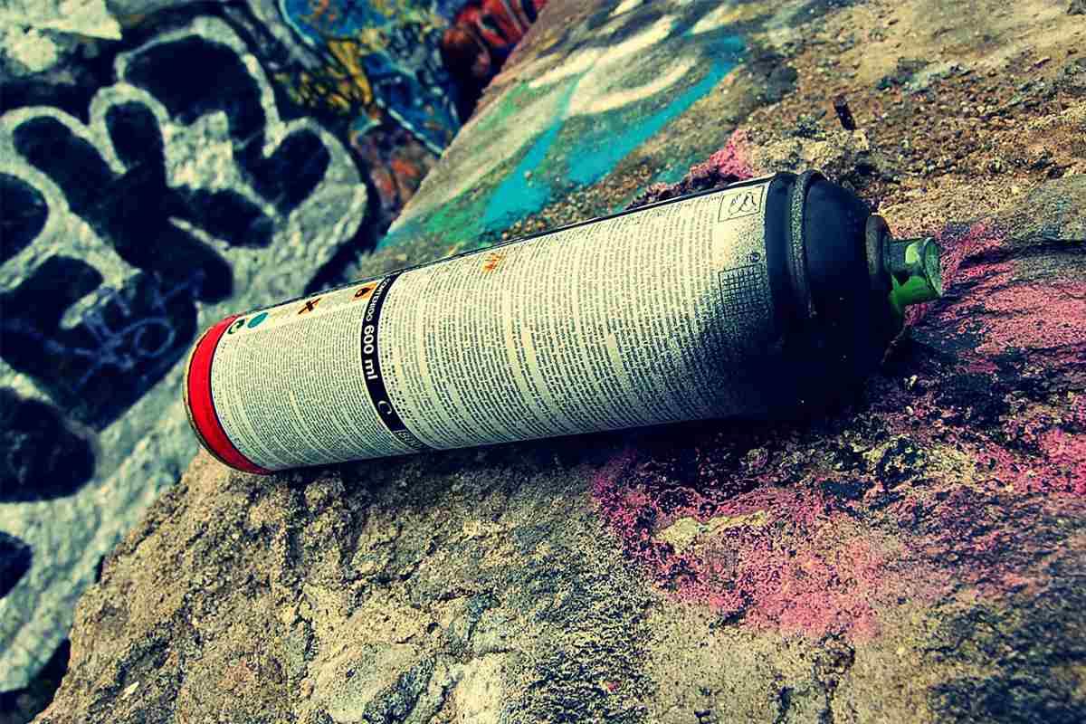 Graffiti spray can used up