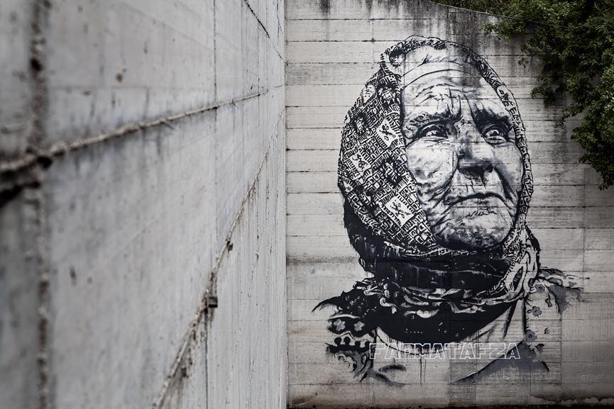 Hendrik Beikirch - Fadma Tafza, 2015. Emulsion and spraypaint on concrete, Arce.Italy, 2015