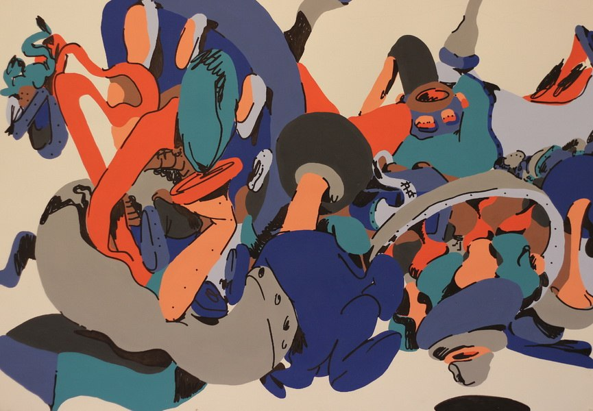 Horfee, Mellow Metal, 2014, acrylic_and_gouache_on_paper_70x120cm