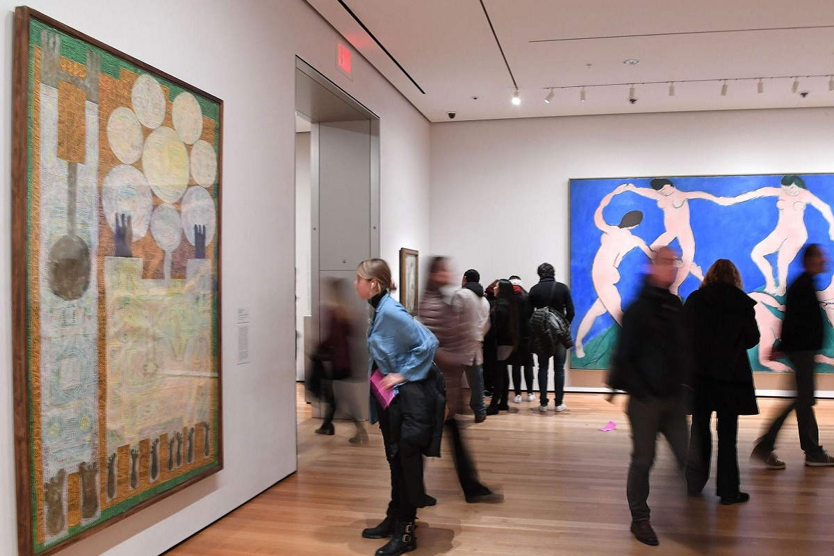 Inside one of the galleries at MoMa, showing art from the banned Muslim countries. Image via independent.com