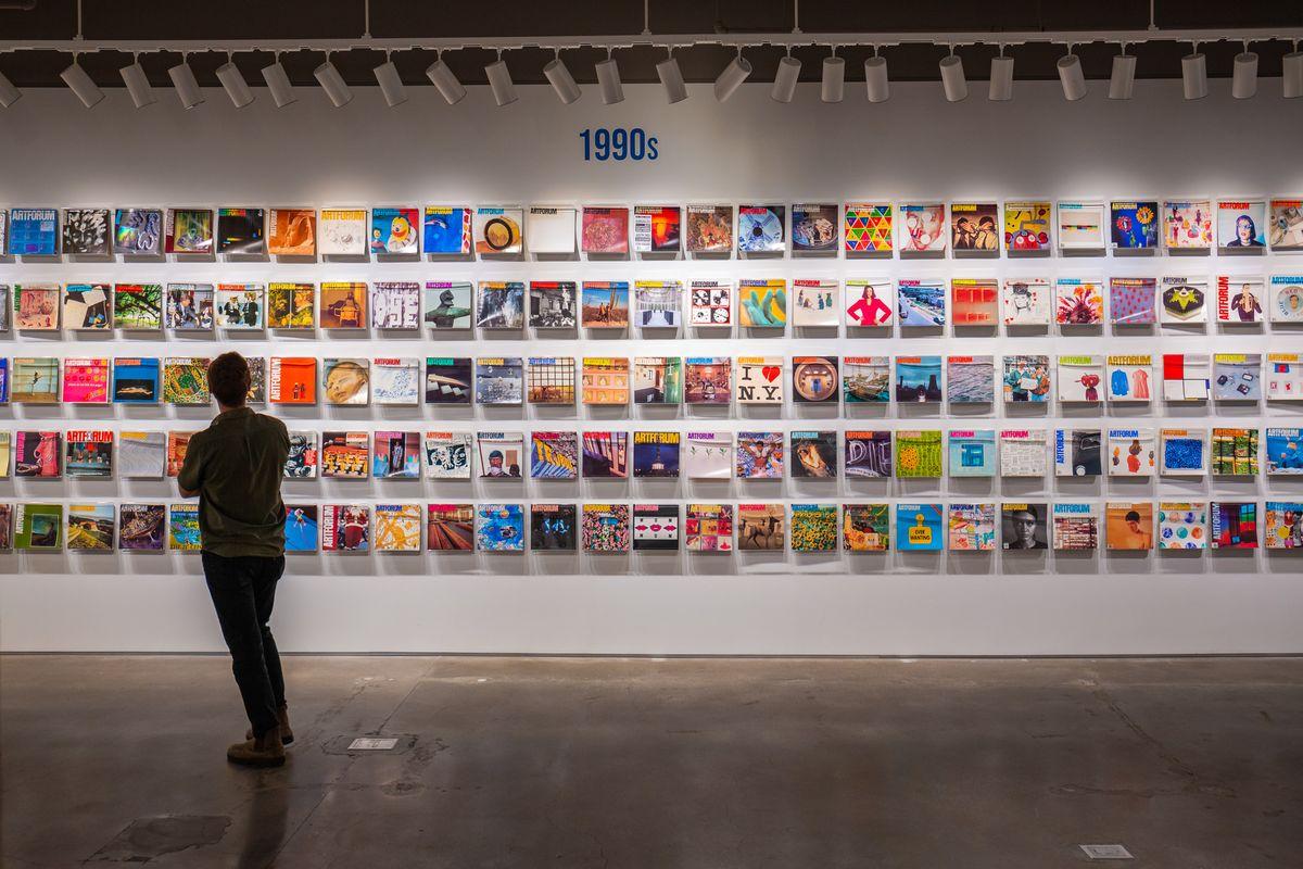 Installation View of Covering the Art World- Six Decades of Artforum