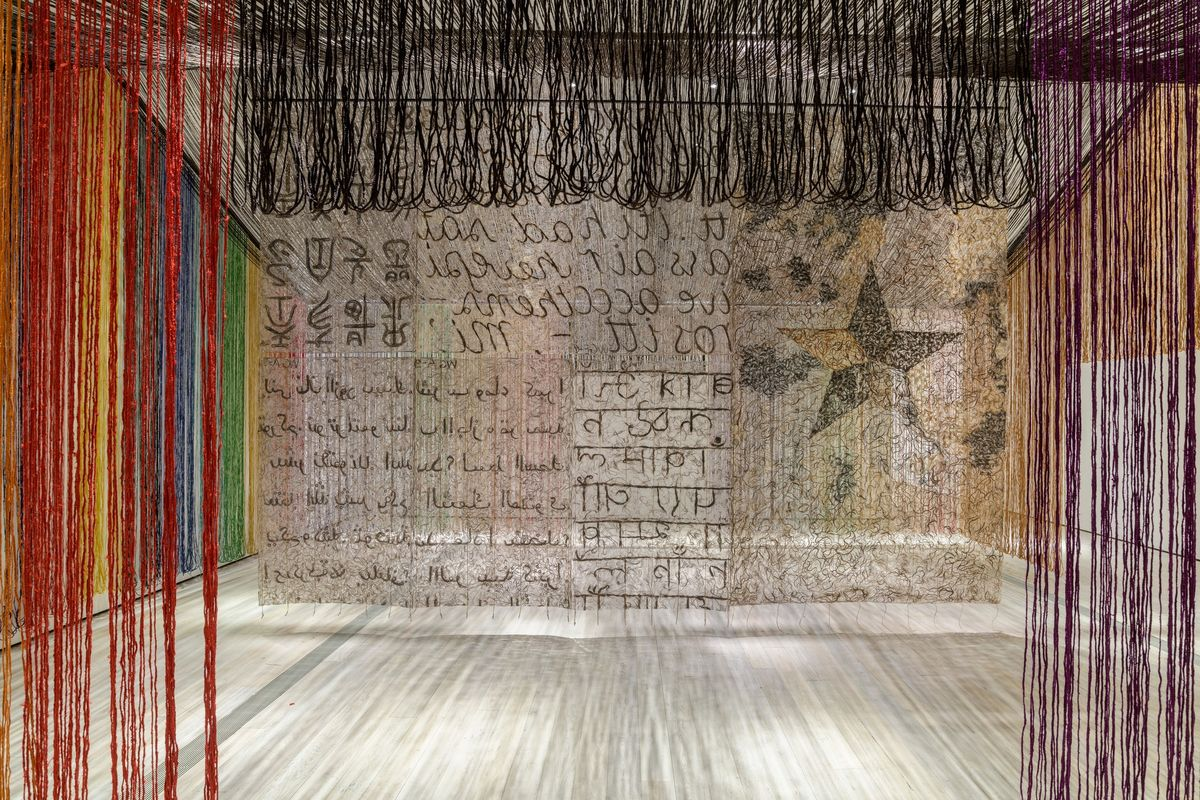 Installation photograph, featuring Gu Wenda's United Nations- American Code (2018–19) as seen in the exhibition The Allure of Matter- Material Art from China at the Los Angeles County Museum of Art 1