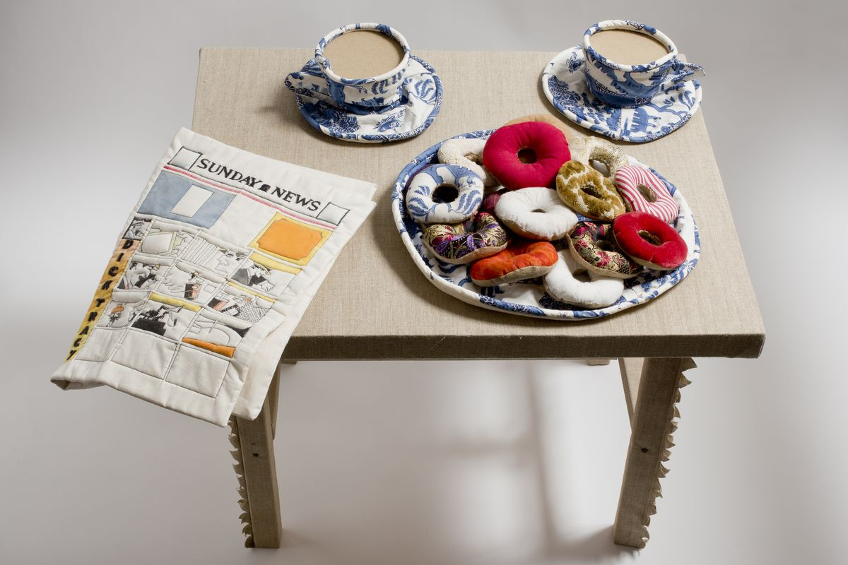 Jann Haworth - Donuts, Coffee Cups and Comic, 1962. Fabric, thread and kapok, Wolverhampton Arts Centre © Courtesy of the artist