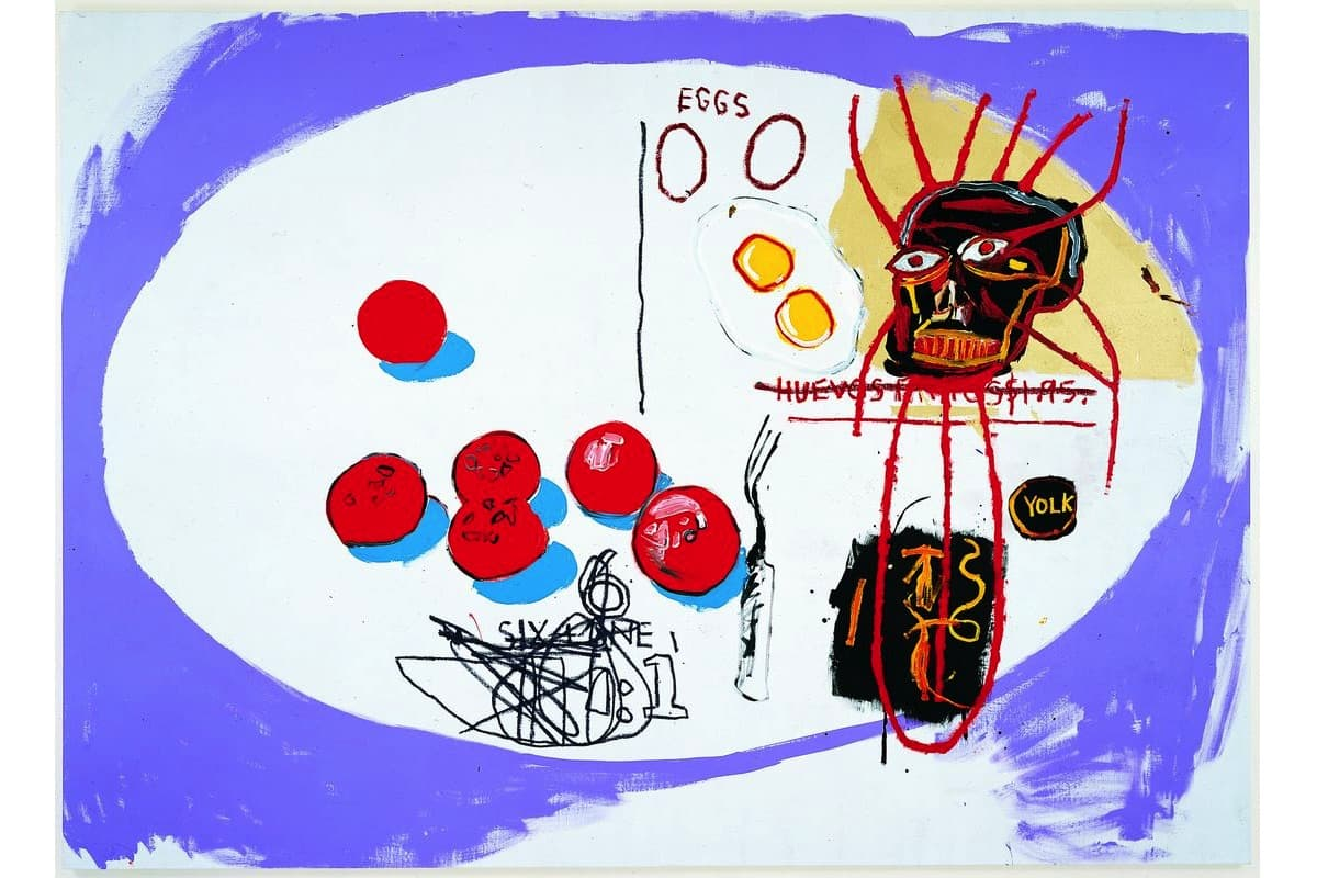 Jean-Michel Basquiat and Andy Warhol - Eggs, 1985. Acrylic on canvas, 80 x 111.4 inches