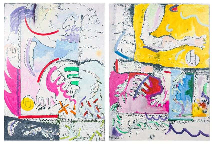 Jesse Willenbring - Nausikaa Worksheet 1 and 2. Acrylic, fabric dye and pastel on canvas, 48- x 72- each