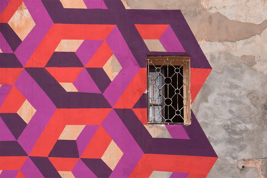 LX ONE - Section of his mural in Marrakech - MB6- Street Art Project - © Ian Cox 2016