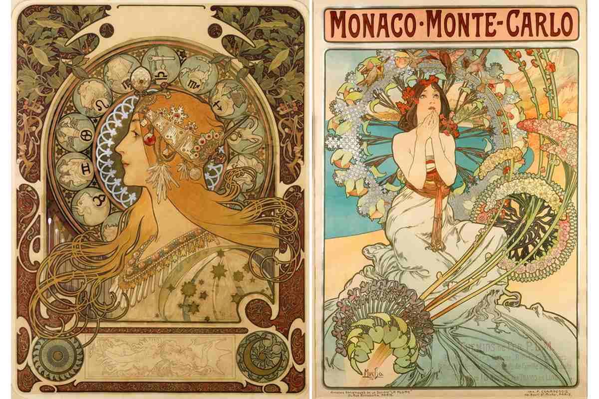 Left Alphonse Mucha - Zodiac Right Alphonse Mucha - Monaco Monte Carlo