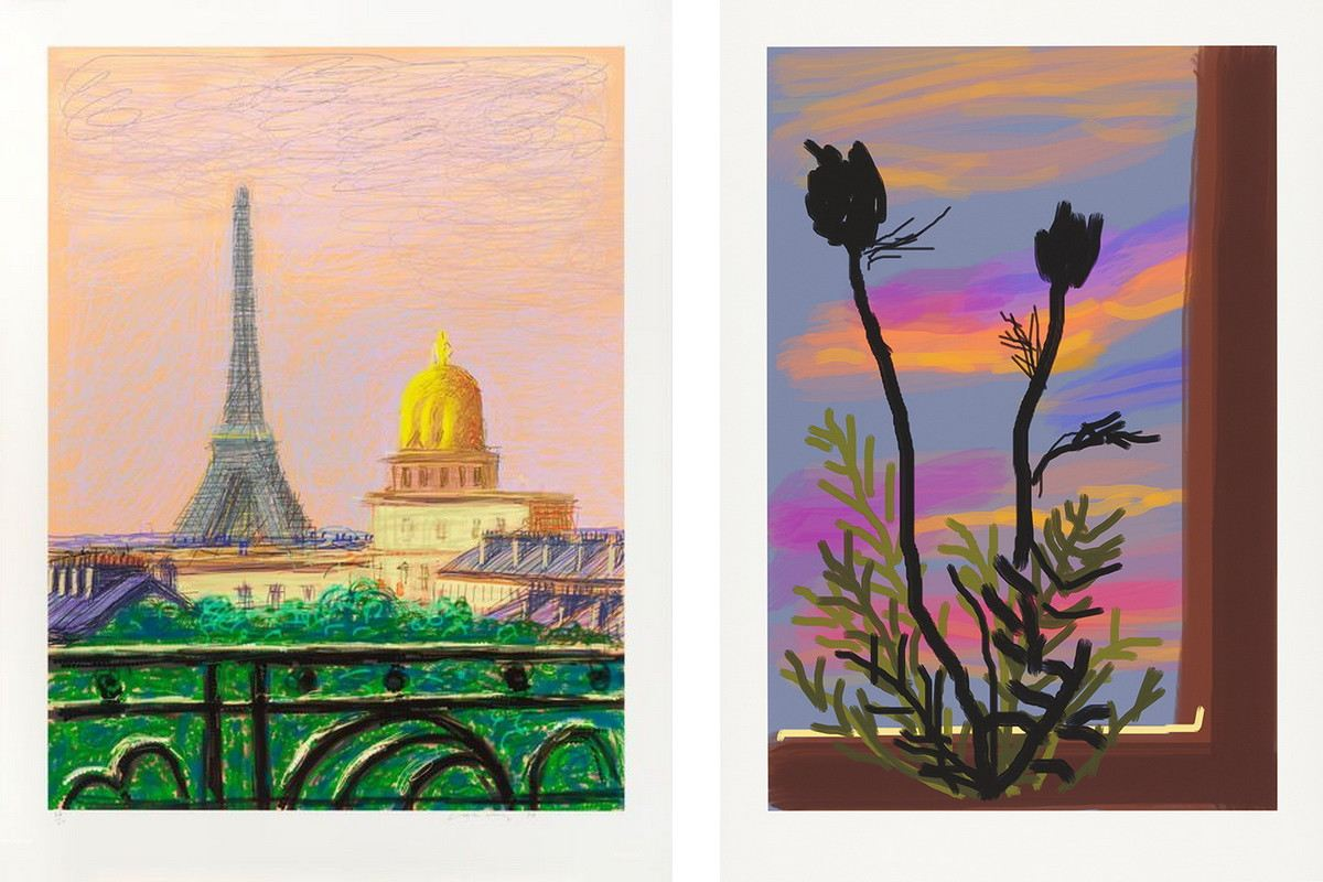 Left David Hockney - Early Morning Right David Hockney - Eiffel Tower by Day