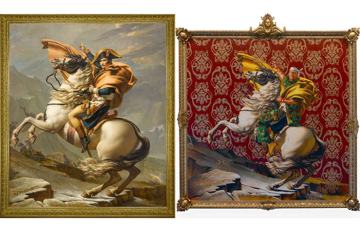 Left Jacques-Louis David, Le Premier Consul franchissant les Alpes au col du Grand Saint-Bernard Right Kehinde Wiley, Napoleon Leading the Army over the Alps