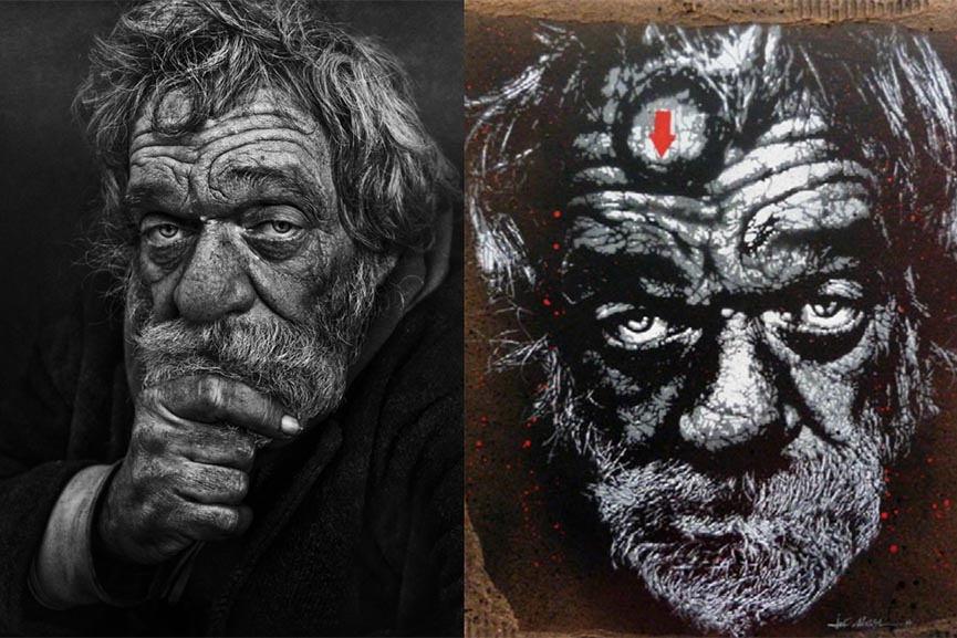 Left: Lee Jeffries - Photograph / Right: Jef Aérosol - Stencil