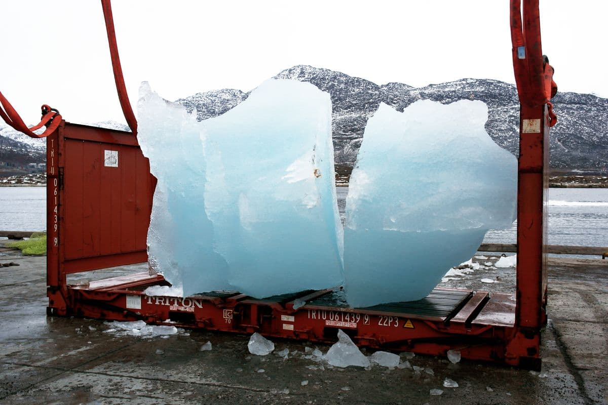 Loading ice at Nuuk Port and Harbour, Greenland, for Ice Watch in Copenhagen, 2014. Photo- Group Greenland © 2014 Olafur Eliasson