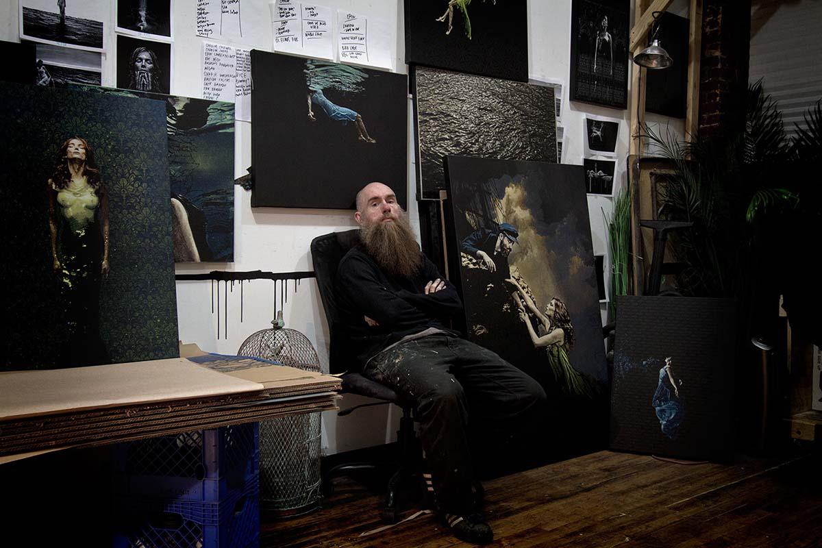 Logan Hicks in his studio