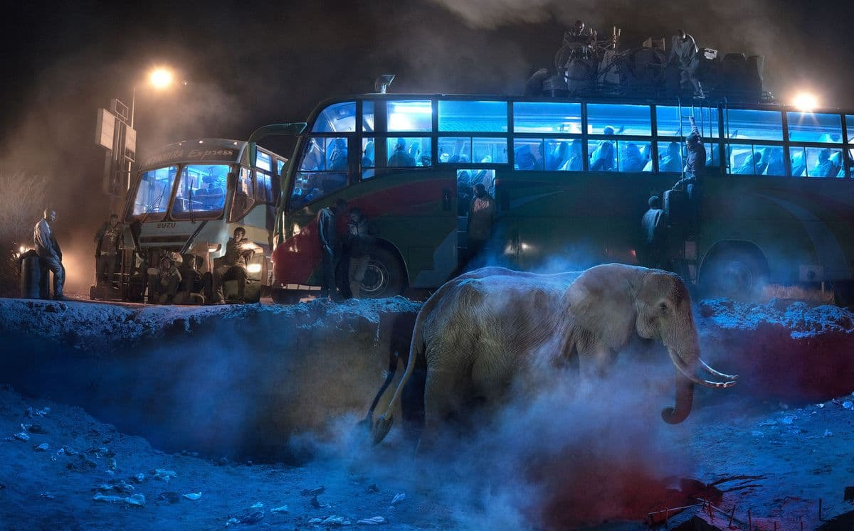 Nick Brandt - Bus Station With Elephant in the Dust, 2018. Archival pigment print, 56 x 89.6 in : 142.2 x 227.6 cm