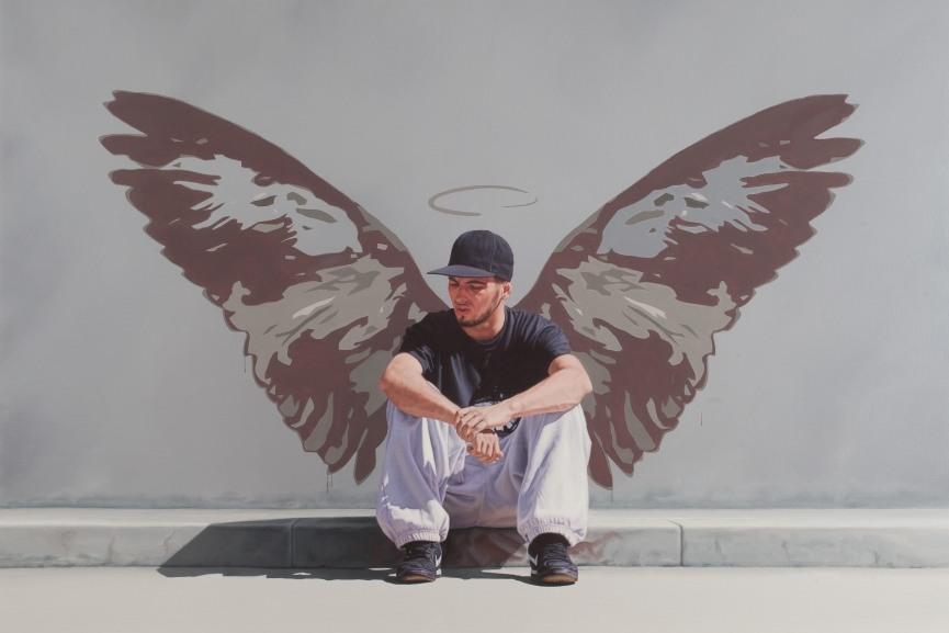 Nigel Cox - Fallen Angel, detail,  122 x 122cm, Oil on linen