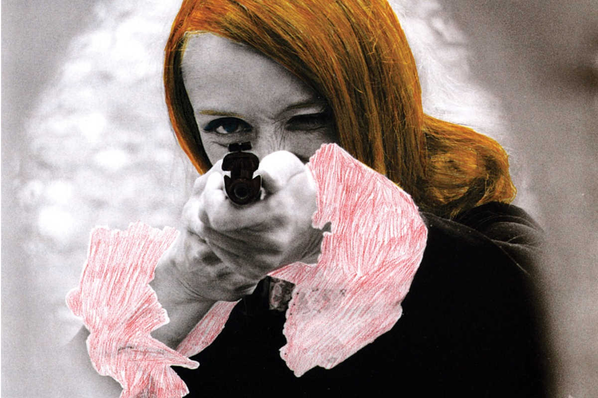 Niki de Saint Phalle pointing her gun, 1972, detail